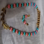 Silk thread necklace with earrings