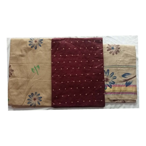 Cotton Dress Material with Dot Threat work Maroon