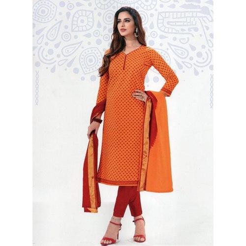 Orange Printed Cotton Dress Material Online