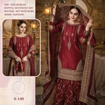 Pakistani Designer Women Fox Georgette Heavy Embroidery Dress Material Maroon