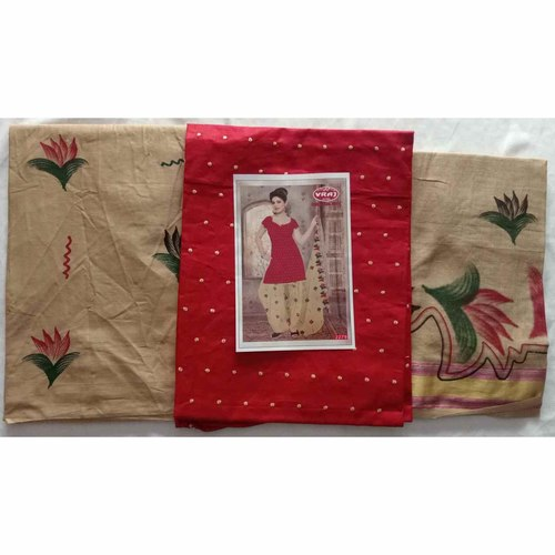 Cotton Dress Material with Dot Threat work Red