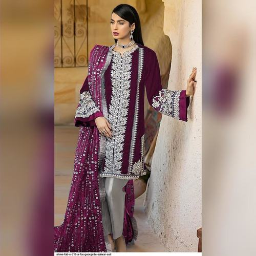 Pakistani Designer Women Fox Georgette Heavy Embroidery Dress Material Purple