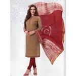 Trending Printed Cotton dress material Online Biscuit - Marron