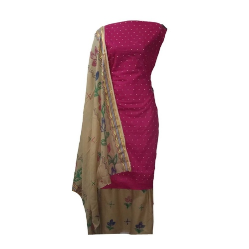 Cotton Dress Material with Dot Threat work Pink