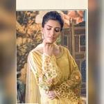 Pakistani Designer Women Fox Georgette Heavy Embroidery Dress Material Lemon