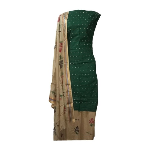 Cotton Dress Material with Dot Threat work Green