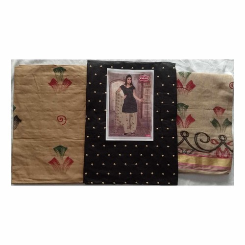 Cotton Dress Material with Dot Threat work Black