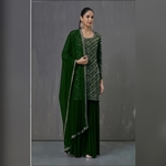 Pakistani Designer Women Fox Georgette Heavy Embroidery Dress Material Dark Green