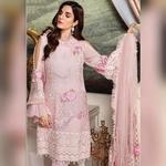 Pakistani Designer Women Fox Georgette Heavy Embroidery Dress Material Peach