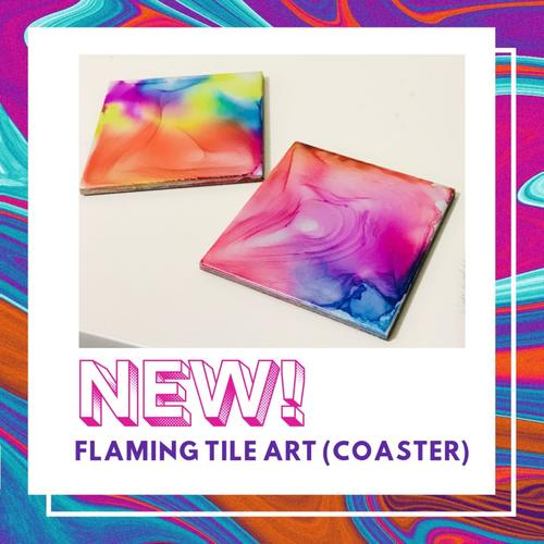 Flaming Tile Art coasters