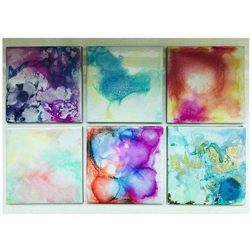 Flaming Tile Art coasters