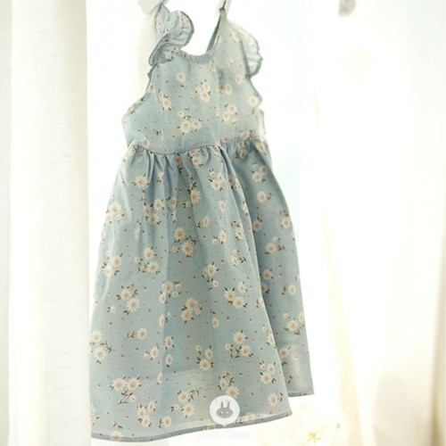 (RESTOCK) Baby Flower Cotton Dress (Sky Blue)