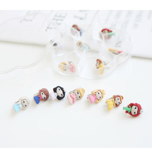 Set of 7 Princess Clip-On Earrings