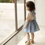 Blue Denim Baby Overalls Skirt