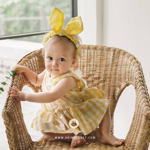 (2ND RESTOCK) Big Ribbon Yellow Check Baby Blouse