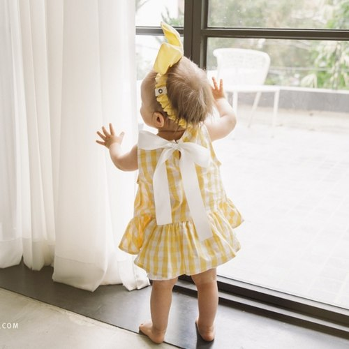 2ND RESTOCK Big Ribbon Yellow Check Baby Blouse