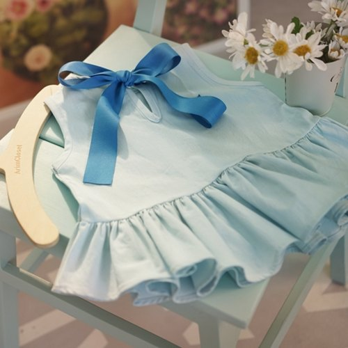 (RESTOCK) Big Ribbon Ice Blue Baby Blouse