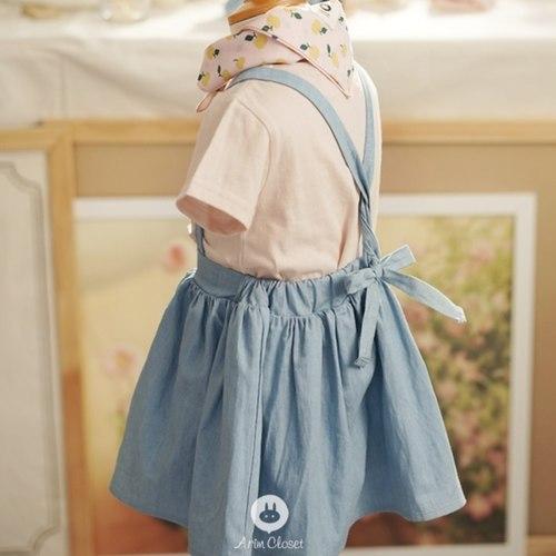 Blue Denim Baby Overalls Skirt