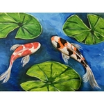 Koi fish with Lily pads
