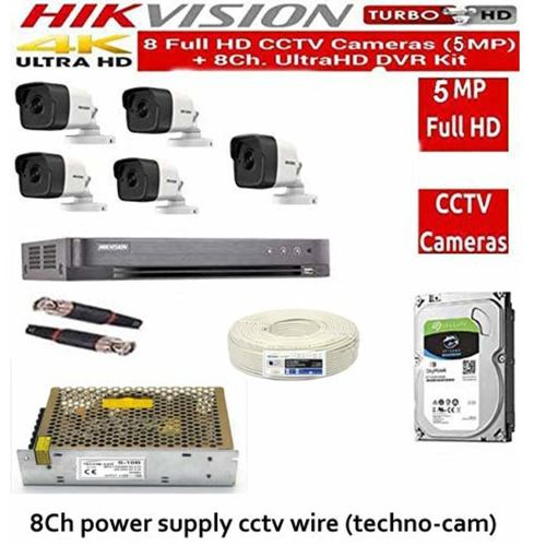 HIKVISION Full HD 5MP Cameras Combo KIT 8CH HD 4K Ultra HD Quality DVR+ 5 Bullet Cameras +2TB Hard DISC+ Wire ROLL +Supply & All Required Connectors