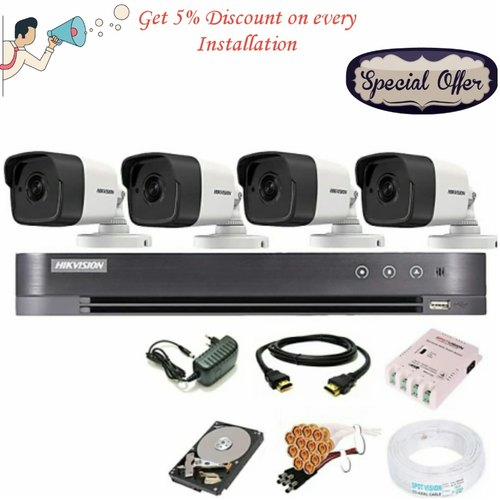 HIKVISION 4 Channal Turbo HD DVR 1Pcs,Outdoor Camera Ultra HD 5MP 4Pcs,1 TB Hard Disk,Full combo set Security Camera  1 TB, 4 Channel