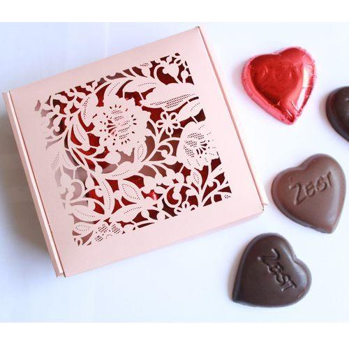 Zest Valentines small pink box 7 pcs of choc