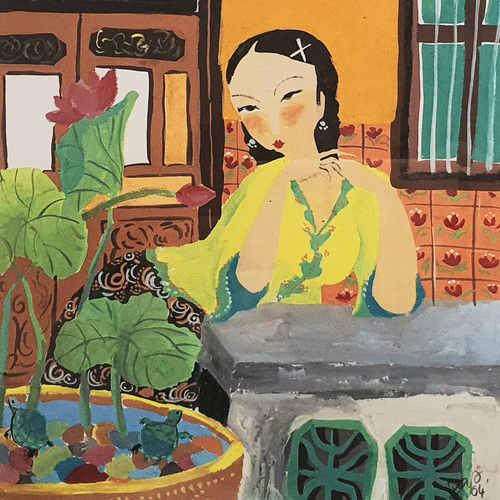 Original Heritage Painting Peranakan Lady by Patrick Yee