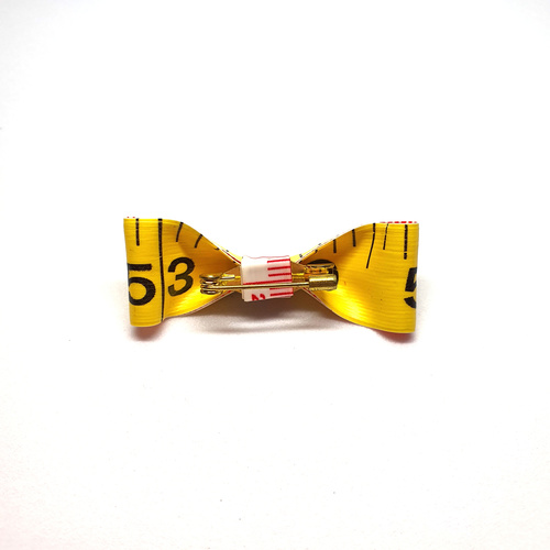 Handmade Accessories Measuring Tape Ribbon Brooches Yellow by Doe & Audrey