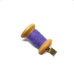 Handmade Brooch: Large Thread Spool (Plain Purple 2) by Doe & Audrey