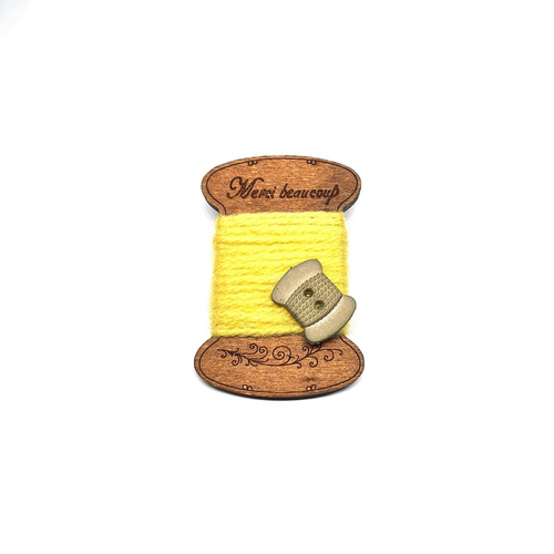 Handmade Brooch: Flat Thread Spool (Plain Yellow 1) by Doe & Audrey