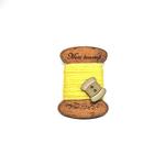 Handmade Brooch: Flat Thread Spool (Plain Yellow 1) by Doe & Audrey
