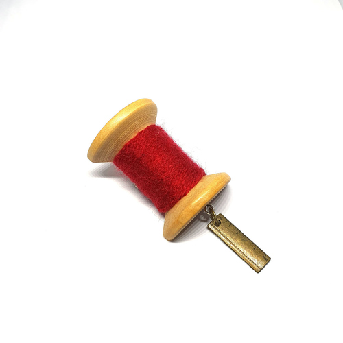 Handmade Brooch Large Thread Spool Plain Red 2 by Doe & Audrey
