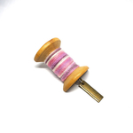 Handmade Brooch: Large Thread Spool (Striped Pink) by Doe & Audrey