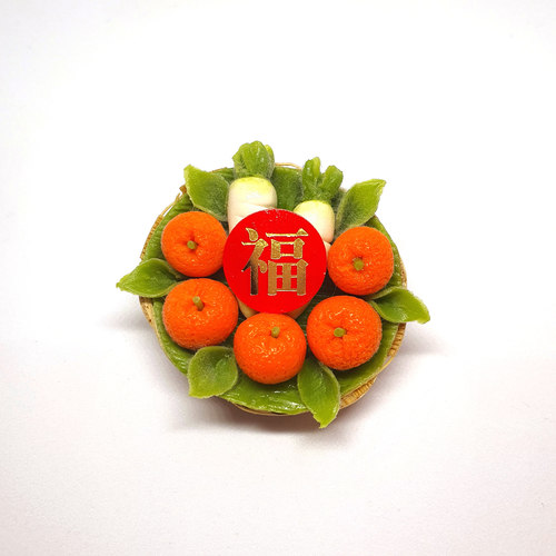 Handmade Miniature: Auspicious Radish & Mandarin Orange Set by Madam Ang Miniature World