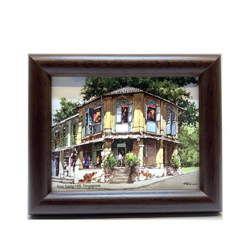 Mini Artframe Water Colour Magnet: Ann Siang Hill, Singapore by Loy Chye Chuan