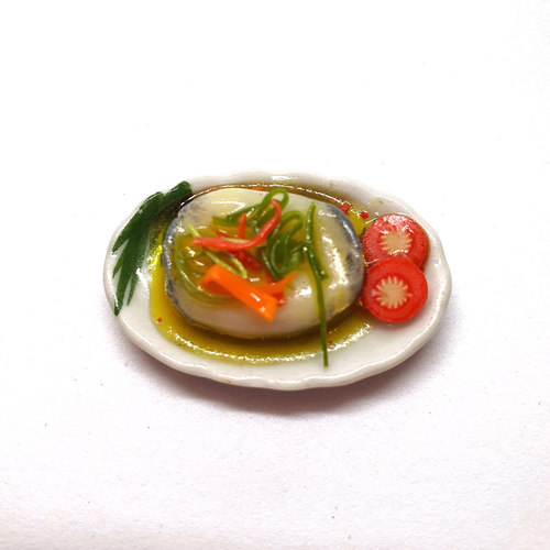 Handmade Miniature: Steamed Fish (Cod) by Madam Ang Miniature World