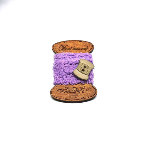 Handmade Brooch: Flat Thread Spool (Plain Purple) by Doe & Audrey