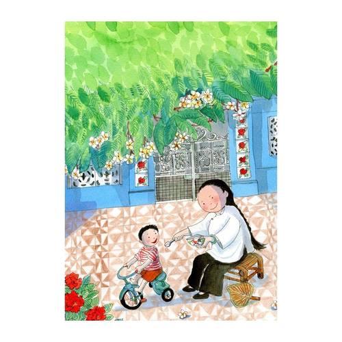 Heritage Postcard Majie feeding Child by Patrick Yee