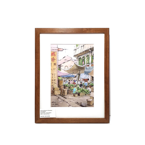 Heritage Water Colour Painting  Morning Market in Chinatown by Loy Chye Chuan