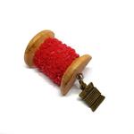Handmade Brooch: Small Thread Spool (Plain Red 3) by Doe & Audrey