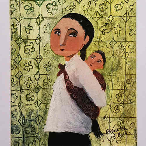 Original Heritage Painting: Majie with Baby by Patrick Yee