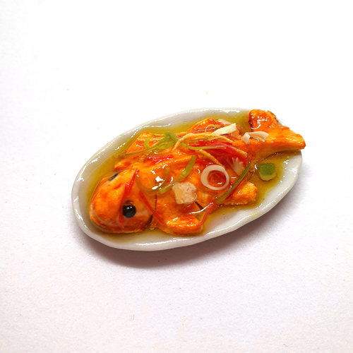 Handmade Miniature: Steamed Fish (Red Tilapia) by Madam Ang Miniature World