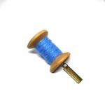 Handmade Brooch: Large Thread Spool (Plain Blue) by Doe & Audrey
