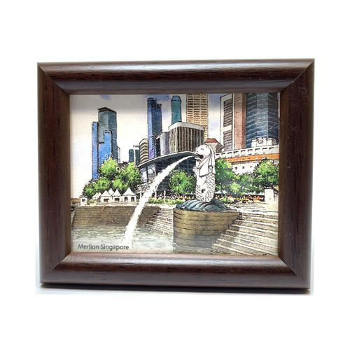 Mini Artframe Water Colour Magnet: Merlion Singapore by Loy Chye Chuan