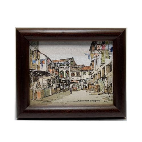 Mini Artframe Water Colour Magnet: Bugis Street (Landscape) by Loy Chye Chuan