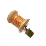 Handmade Brooch: Small Thread Spool (Striped Brown) by Doe & Audrey