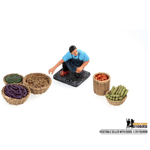 Vegetable Seller with Goods Figurine