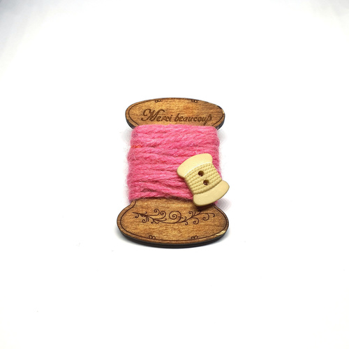 Handmade Brooch Flat Thread Spool Plain Dark Pink by Doe & Audrey