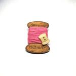 Handmade Brooch Flat Thread Spool Plain Dark Pink by Doe & Audrey