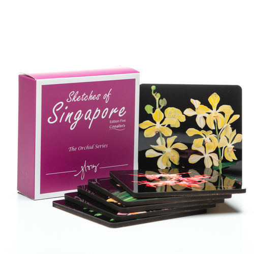 SOS 5 Orchids Coasters Reg Coasters